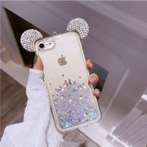 Mickey bling floating hearts case